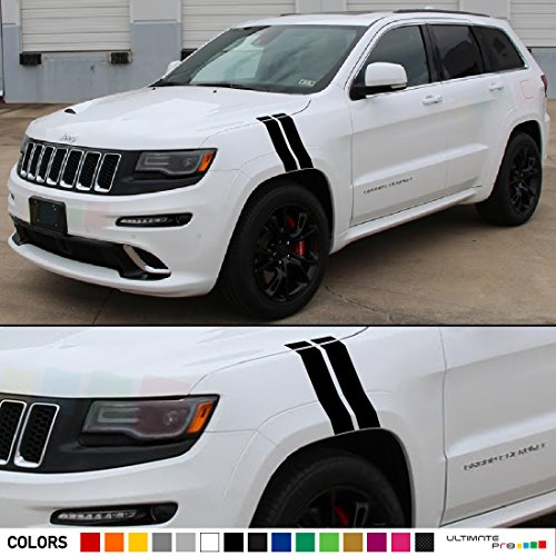Set of Decal Sticker Vinyl Racing Fender Hash Stripes Compatible with Jeep Grand Cherokee Wk2 SRT8 2011-2016 (Grand Cherokee Srt8 Rims compare prices)