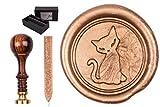 Stamp Set 'Sigillum' Engraved Symbol Cat, including 1 Bar Wax