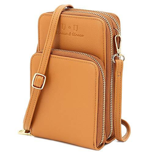 RFID Blocking Small Crossbody Bag, U+U RFID Blocking Leather Cell Phone Purses Triple Zip Functional Multi Pocket Shoulder Bags for Women Brown