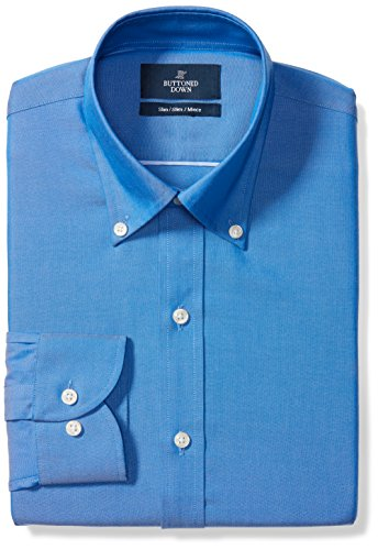 BUTTONED DOWN Men's Slim Fit Button-Collar Solid Non-Iron Dress Shirt (No Pocket), French Blue, 16.5