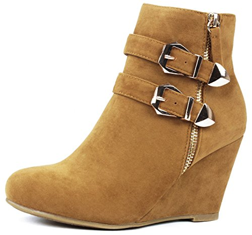Gold Zipper Strap Suede Dual Decor Ankle Buckle Tan Wedge Women Booties C15wpq