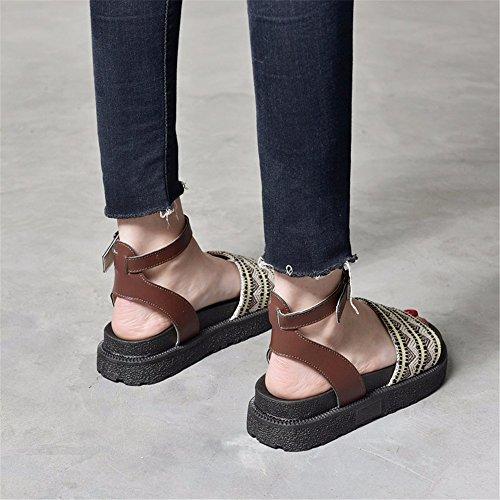 fondo a confortevole vintage di sandali Onorevoli YMFIE toe a piatto minimalista moda toe colleghe sandali a6I0wO