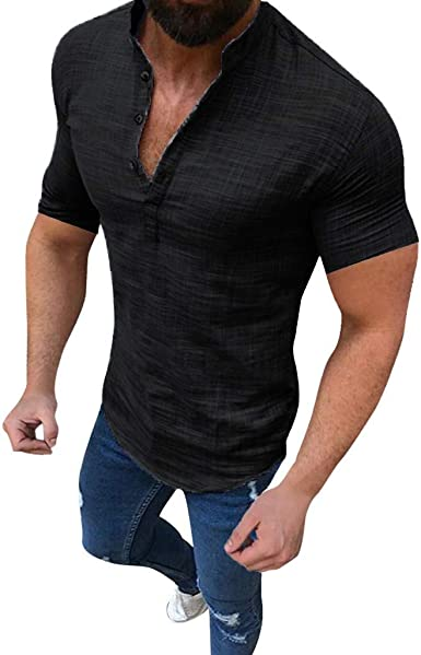 Mens Solid Cotton Linen Short Sleeve Casual Shirt Slim Fit Tops Tee Party Blouse