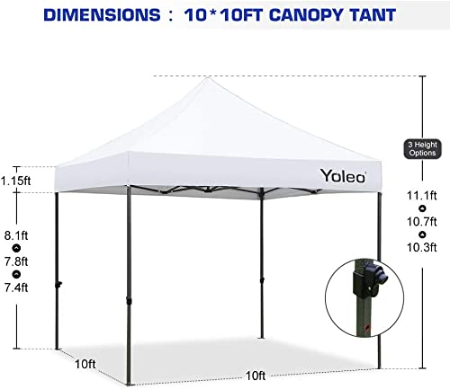 Yoleo Pop Up Canopy Tent with Sides 10×10 Commercial Instant Canopy Tent Easy Up Shelter with 3 Walls, Wheeled Carry Bag,4 Weight Bags Red