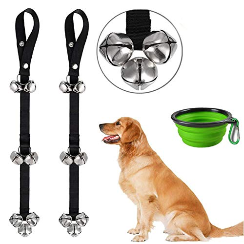 Dog Bells Pack of 2 Potty Bells Dog Doorbells for Dog Training Adjustable Door Bell for Puppy with Collapsible Travel Pet Cat Dog Bowl (Green)