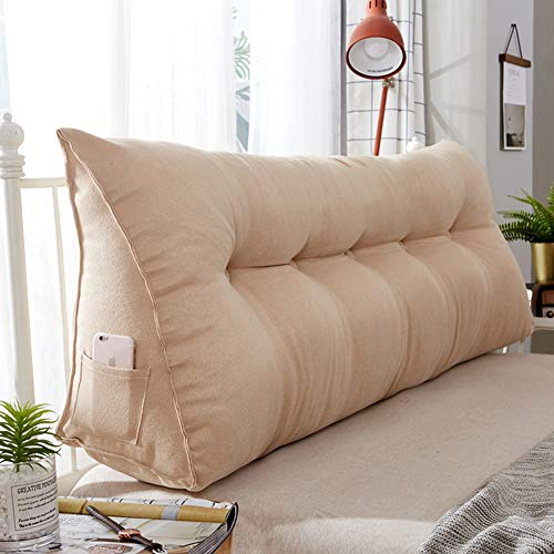 Upholstered Triangular Backrest Pillow Cushion, Sofa Bed Wedge Cushion,Plush Thick Large Bolster Headboard Pillow Cushion Lumbar Pad-Chamois 200x20x50cm(79x8x20inch)