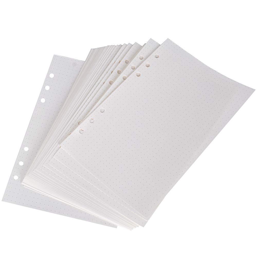 160 Fogli 320 Pagine Ricambio Agenda con 6 Anelli Formato A5 Punti Cartella di File Pianificata per Diari Giornalieri Calendario Appunti Inserti Scrapbooking Fai da Te