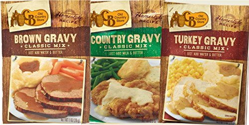 Cracker Barrel Old Country Store Gravy Mix Variety Pack (Contains One Turkey, One Brown, and One Country Gravy Mix Packet) (Turkey Gravy Packets)
