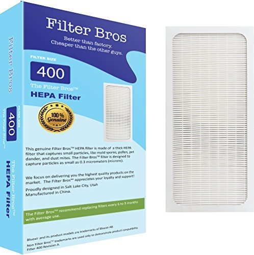 Genuine Filter Bros Replacement Filter for Blueair 400 Classic Series (402, 403, 405, 410, 450E, 455EB) HEPA SmokeStop Filters Dust, Pollen, Spores, Bacteria, VOC Removal for Fresh Air and Blue Sky