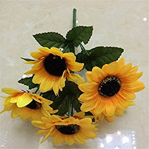 Nyalex 1 Bouquet 7 Head flowers Home Party Decor Display Artificial Silk Flower Simulation Sunflower DIY artificial flowers 9