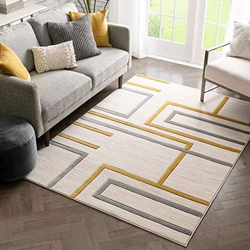 Well Woven Fiora Gold Modern Geometric Stripes Boxes Pattern Area Rug 5×7 5 3 x 7 3