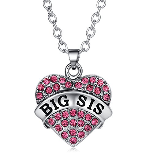 ELOI Big Sister Necklace Crystal Heart Sister Pendant Christmas Gifts for Kids BFF Best Friends 18 inches