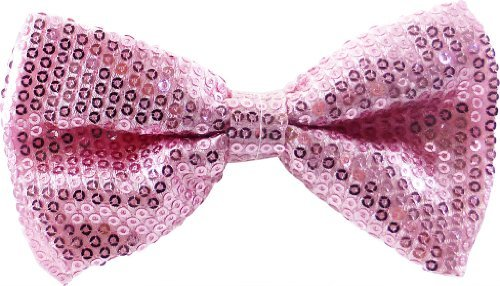 JTC Belt Great Quality Pre-Tied Bow Tie Light Pink Sequins