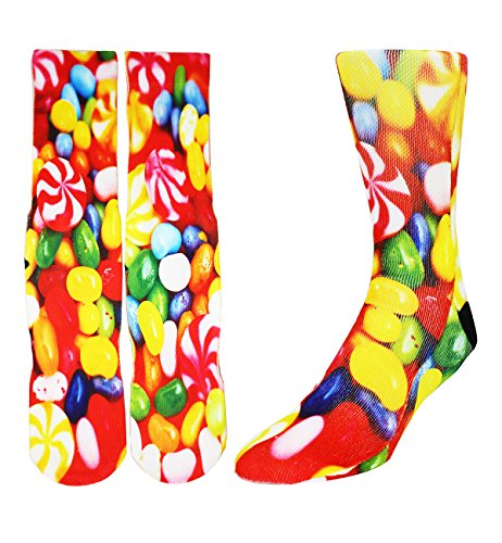 n Color Athletic Sports Mismatch Crew Cotton Socks,Jelly beans,Socks size 9-13 ()