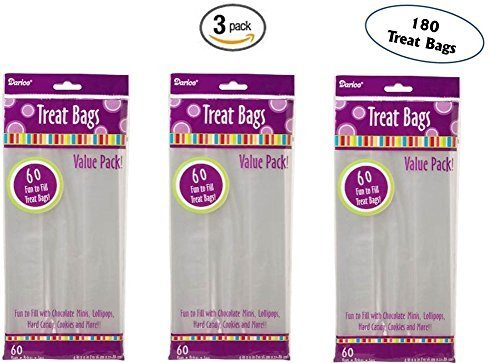 Set of 3 Darice 28-003V 4-Inch-by- 9-Inch Clear Treat Bag 60-Piece Pack by Darice