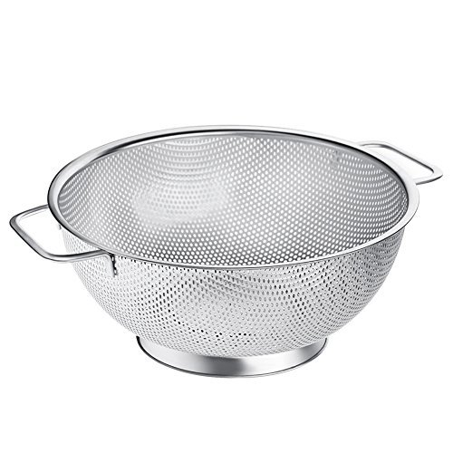 Micro-perforated 3-Quart Stainless Steel Colander Kitchen Spaghetti Strainer with Non-Slip Handle and Stable Base | Non-Toxic Dishwasher-Safe Metal Mesh Strainer for Pasta Noodles Fruit Vegetable ()