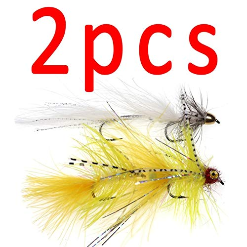 Jammas 2PCS #4 Twin Hook Yellow & White Marabou Streamer Fly Bait Fish for Pike Trout Fly Fishing - (Color: 2PCS Mix Color)