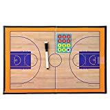 Basketball Tactics Board, Elisona Foldable Portable Erasable Magnetic Clipboard Basketball Tactics Board Kit with Pen for Coach Tool Winning Strategy