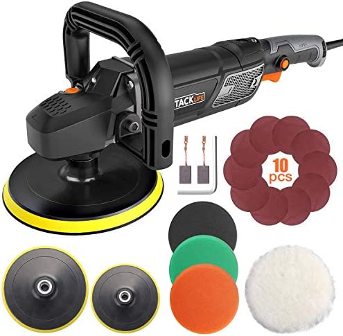 Polisher, TACKLIFE 7Inch 6Inch 12.5Amp Variable Speed Polisher, With Digital Screen, Lock Switch, Detachable Handle, Ideal for Car Sanding, Polishing, Waxing, Sealing Glaze – PPGJ01A