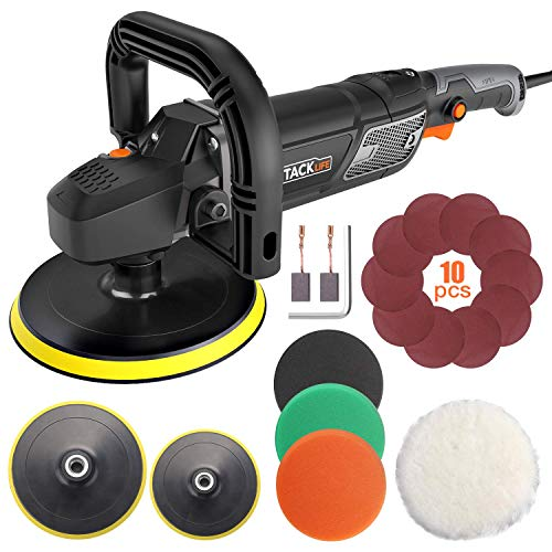 Polisher, TACKLIFE Buffer Polisher 7-Inch 12.5Amp, With 6 Variable Speeds, Digital Screen, Lock Switch, Detachable Handle, Ideal For Car Sanding, Polishing, Waxing, Sealing Glaze – PPGJ01A
