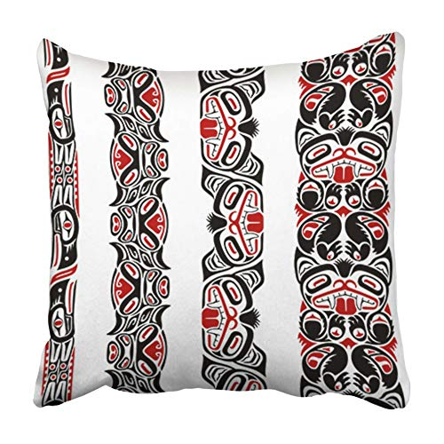 Emvency Throw Pillow Covers Cases Decorative 20x20 inch Red Totem Haida Style Created with Animal Images Native American Pole Indian Inuit Two Sides Print Pillowcase Case Cushion Cover (Indian Totem Poles Native American)