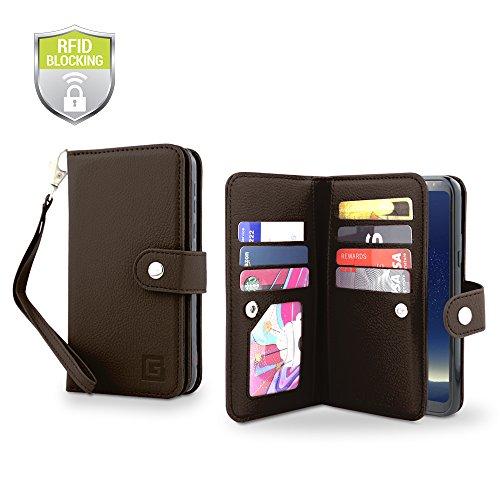 Gear Beast - Funda tipo portafolios para Galaxy S8 Plus (piel, con tapa, doble funda de piel, 7 ranuras para tarjetas,...
