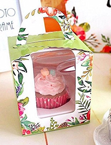 Happinessday Clear Bakery Pastry Food Grade Flower Garden Design Cardboard Single Cupcake Boxes With Window And Handle Wholesale(50)