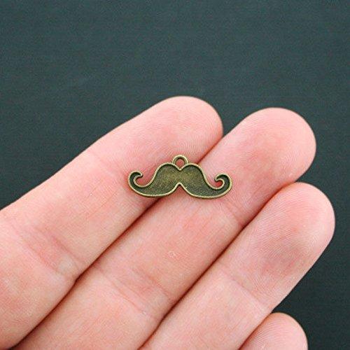 8 Mustache Charms Antique Bronze Tone BC704