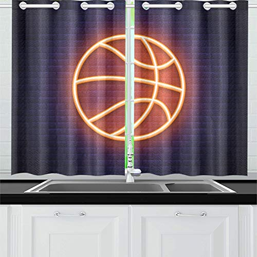 - VNASKL Basketball Neon Icon Design Element Kitchen Curtains Window Curtain Tiers for Cafe Bath Laundry Living Room Bedroom 26x39inch 2pieces