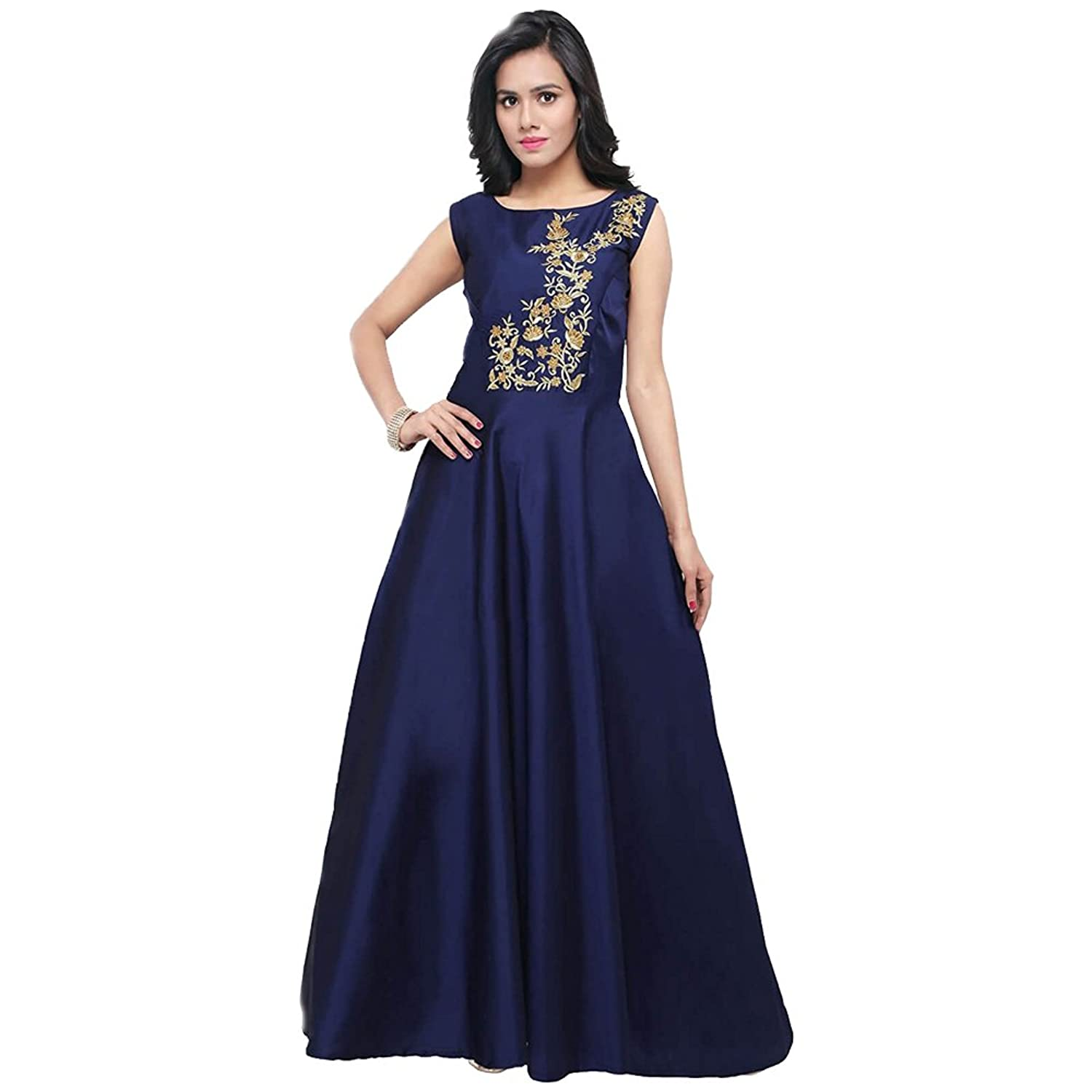 Women's Navy Blue Taffeta Silk Blouse Work Stitched Long Gown For Girls