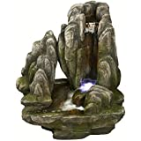 Placid Rock Water Fountain: Large Rock Outdoor Water Feature for Gardens & Patios. Weather Resistant Premium Resin Crafted w/LED Lights.