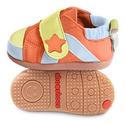 ShooShoos - Zapatitos de piel suela dura, naranja estrella, 24