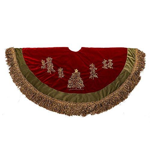 Kurt Adler 50-Inch Burgundy Ribbon Trees Tree skirt with Green Tassel Border by Kurt Adler