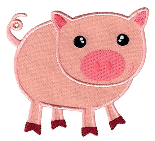 PatchMommy Iron On Patch, Pig - Appliques for Kids Children