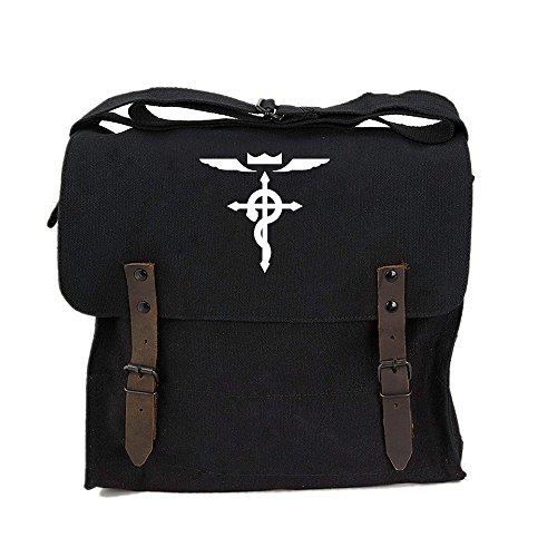 Full Metal Alchemist Flamel Cross Army Heavyweight Canvas Medic Shoulder Bag in Black & White