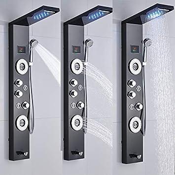 XZ Inicio Níquel cepillado/Orbe Columna de ducha Panel Montaje en ...