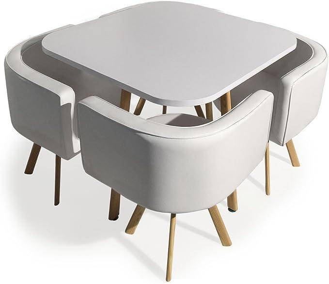 Menzzo - Mesa de Comedor y sillas escandinavas Blancas empotrables | Mesa Blanca | Sillas tapizadas en imitación Blanco | Patas de Metal Color Madera | Asiento Suave y cómodo | Oslo |