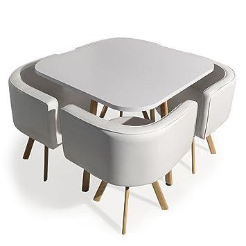 Menzzo Table Et Chaises Encastrables Scandinaves Oslo Blanc Amazon