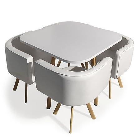 Menzzo - Mesa de Comedor y sillas escandinavas Blancas empotrables ...