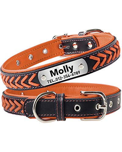Taglory Personalized Dog Collar Leather,Stainless Steel Nameplate Engraved,Custom Western Collar for Medium Dogs,Orange
