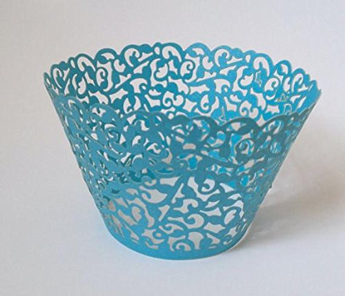 12 pcs Classic Filigree Lace Cupcake Wrappers Wrapper
