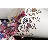 C.X.Y. Lot de 50 cônes porte-confetti fermeture rapide avec adhésif double face papier cartonné perlé bord laser