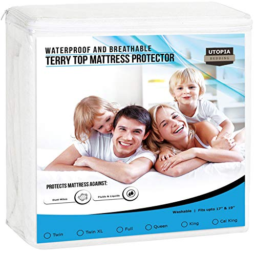 Utopia Bedding Premium Waterproof Mattress Protector - Breathable Fitted Mattress Cover (King) ()