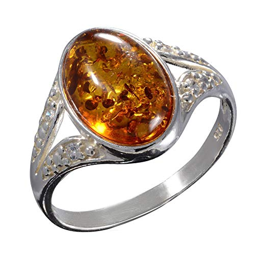 - HolidayGiftShops Sterling Silver Baltic Honey Amber Ring Salma Size: 8
