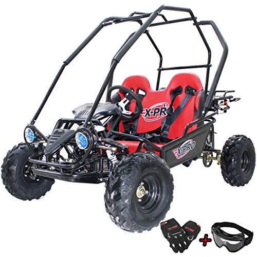 125cc Kids Go Kart Dune Buggy Youth Go Cart Gokart Child 125cc Go Kart GK 125 with Gloves and Google (Red)