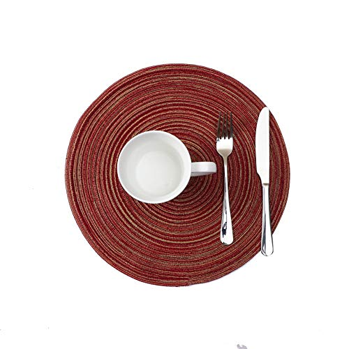 easyum Round Placemats for Dining Table Heat Resistant Wipeable Placemat Washable Kitchen Place Mats Set of 4,Red Round -
