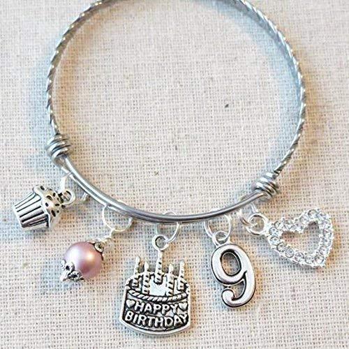9th BIRTHDAY Bracelet, 9th Birthday Charm Bracelet, 9 Year Old Daughter Birthday Gift Idea, Ninth Birthday Gift, 9 Year Old Birthday Bangle (Birthday Gifts For 9 Year Old Girls)