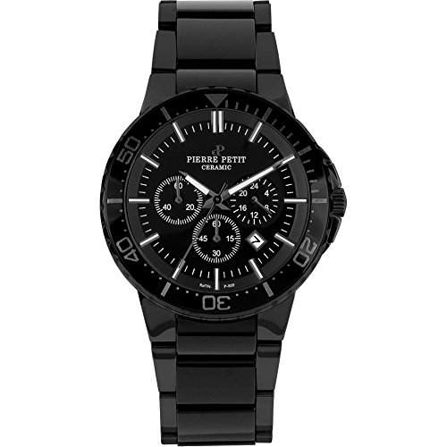 Pierre Petit Men's P-809B Serie Colmar Black PVD Stainless-Steel and Ceramic Bracelet Chrono Watch