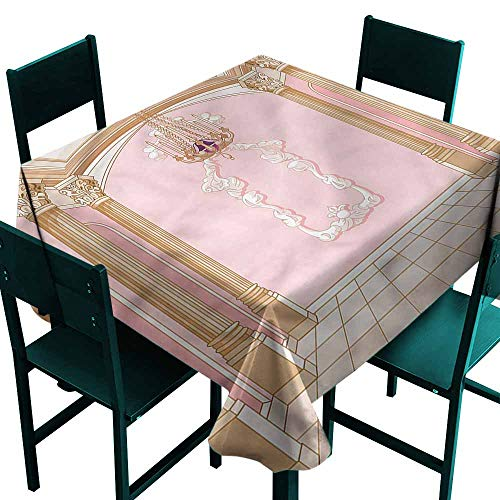 (DONEECKL Antifouling Tablecloth Princess Chandelier Ceiling Castle and Durable W70 xL70 )