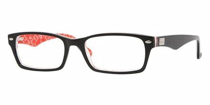 b45a90b31d0fc Ray-Ban RX 5206 Eyeglasses Black on White   Red 52mm   Cleaning Kit Bundle